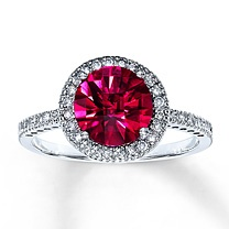 Happy Birthday to Me!!!  10K White Gold Diamond & Lab-Created Ruby Ring from Kay