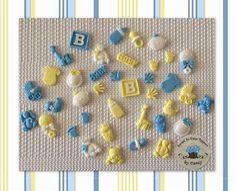 36 MINI Mixed Fondant Cupcake Toppers. Baby Shower. Baby Boy. Baby Shower  | eBay