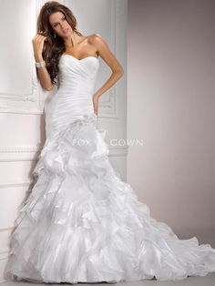 organza and tulle ruched fit and flare wedding gown with sweetheart neckline - Front