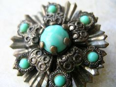 Vintage Brass Aqua Filigree Brooch by 2VintageGypsies on Etsy, $8.00