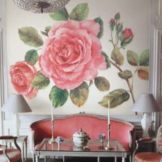 Our favorite new wall mural! A rose explosion from http:lelandswallpaper.com