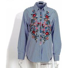 Embroidery female blouse shirt Casual blue striped shirt 2016 autumn winter cool long sleeve blouse women tops blusas 2017 spring summer striped blouse