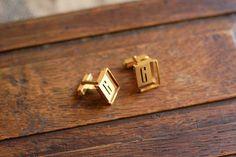 """Vintage French golden cufflinks """"G"""""""