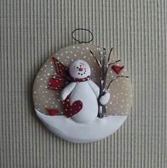 """Paper heart ~ 3"""" hand formed translucent round snowman ornament"""