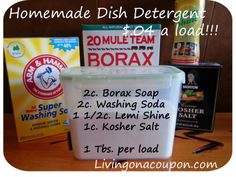 Cleaning Diy Kitchen Organization Homemade Dishwasher Detergent 32 Ideas Ourdoor fireplaces and rela Best Dishwasher Detergent, Washing Detergent, Clean Dishwasher, Washing Soda, Homemade Dishwasher Soap, Dishwasher Cabinet, Homemade Cleaning Supplies, Homemade Cleaning Products, Cleaning Recipes