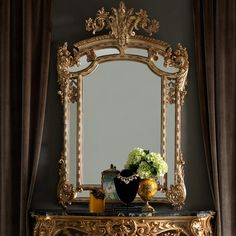 Opulent Gold Rococo Wall Mirror | The Large Gold Rococo Wall Mirror is the most stunning addition to any setting. Shown here in a beautiful antiqued gold, finished with hand painted accentuating detailing to the elaborately carved frame. A stylish statement, adding the ultimate in opulence, luxury and versatility. ➤ Discover the season's newest designs and inspirations. Visit us at http://www.wallmirrors.eu #wallmirrors #wallmirrorideas #uniquemirrors @WallMirrorsBlog