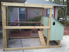 "DIY chicken coop, we're calling it the ""Coop deVille"".  Hubby and I finished this up this morning, we're ready for our backyard flock."