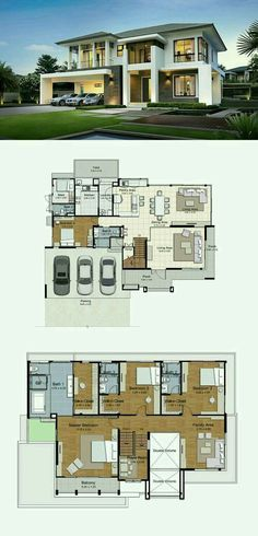 Pinterest: @claudiagabg   Casa 2 pisos 3 cuartos 1 estudio abierto 1 sala de tv