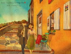 ♥ STROLLING ~  A romantic moment while walking home from our favorite tea shop  ♥ by Puuung at https://www.facebook.com/GongCha.Korea/photos/a.240892976001874.55131.160950467329459/938622329562265/?type=3&theater  ♥