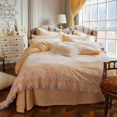 Princess Style Bedding Set With Lace Edge,embroidered Duvet Cover Bed Sheet  Egyptian Cotton Bed Linen Queen King