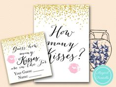 Items similar to How many Kisses Sign, Guess how many Kisses there are in a jar, Gold Confetti Bridal Shower, Bachelorette, Gold Bridal Shower on Etsy Bridal Shower Prizes, Bridal Bingo, Printable Bridal Shower Games, Bridal Shower Gifts, Bridal Shower Invitations, Wedding Games Signs, Wedding Shower Games, Disney Bridal Showers, Gold Bridal Showers