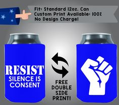 Resist Silence is Consent Collapsible Neoprene Cooler Double Side Print (Misc-2) by CoolestWizards on Etsy