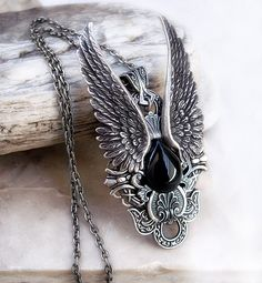 Silver Angel Wing Necklace Black Onyx Womens Mens by Aranwen, €70.00