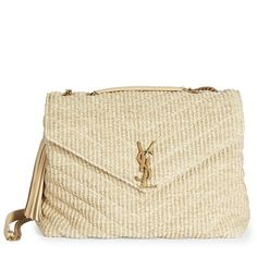 Saint Laurent Large Lou Lou Braided Chain Shoulder Bag ($1,990) ❤ liked on Polyvore featuring bags, handbags, shoulder bags, apparel & accessories, natural, handbag purse, brown shoulder bag, brown handbags, yves saint laurent handbags and yves saint laurent purse