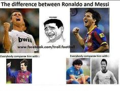 This is cool...Renaldo is compared to Messi but Messi is compared to the best soccer players of the past.