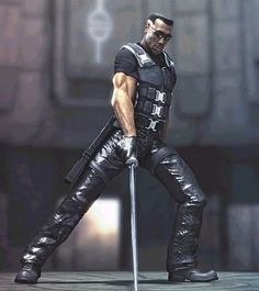 Wesley Snipes in Blade. I guess he's a vampil or vampirie, half human bloodsucker. Comic Book Characters, Marvel Characters, Marvel Heroes, Marvel Dc, Black Comics, Dc Comics, Gi Joe, Eric Brooks, Blade Movie