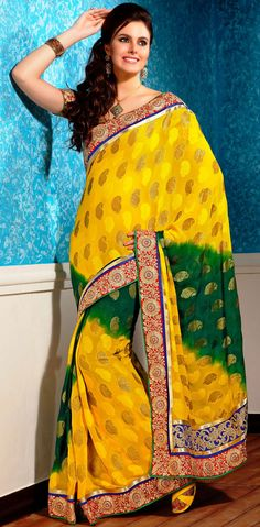 Contemporary Green and Gold Chiffon with Jacquard Party Wear Saree - IG9056 USD $ 71.42