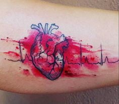 What does ekg tattoo mean? We have ekg tattoo ideas, designs, symbolism and we explain the meaning behind the tattoo. Dream Tattoos, Future Tattoos, Body Art Tattoos, Small Tattoos, Sleeve Tattoos, Cool Tattoos, Heart Tattoos, Ekg Tattoo, Tattoo Blog