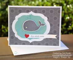 Get Whale Soon--Stamps: Oh Whale    Paper: Twitterpated, Pool Party, Whisper White, Basic Gray, Primrose Petals    Ink: Basic Gray    Accessories: Rhinestone Jewel, Chevron Embossing Folder, Happy Whale Clearits Die, Labels Framelits Collection    Techniques: Embossing, Die Cuts