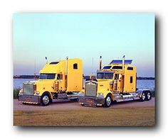 Wow! This beautiful wall poster will be a stunning and elegant addition to any space wherever you hang it. This poster captures the image of two Yellow Kenworths Big Rig diesel truck parked near the ocean which is sure to attract lot of attention. This truck poster with a natural beauty tones will match perfectly with your other wall and decor style. Order this poster today for its durable quality and wonderful color accuracy.