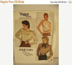 50% Off SALE Vintage Vogue 2856 Anne Klein Sewing Pattern Misses Blouse Sz 6