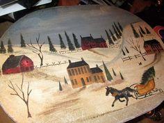 Balsa wood vintage oblong tole painted hat box~cheap bargain~make an offer~
