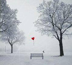 Ballon in de sneeuw
