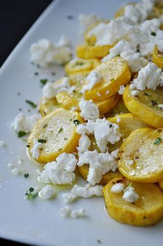 Summer squash with goat cheese & thyme. I added a little - well a lot of hot sauce on top - my oh my was it good!