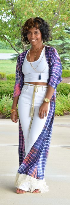 All White, Kimono, High Waist Jeans, Crop Top Kimono Fashion, Girl Fashion, Womens Fashion, Fashion Trends, White Fashion, Spring Fashion, Afro, Summer Outfits, Cute Outfits