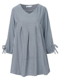 Plaid V Neck Pleated Quarter Tie Loose Casual Women Blouse Material:Polyester,Cotton Style:Casual Pattern Style:Plaid Sleeve Length:Quarter Collar:V Neck Season:Spring,Fall Length:Regular Color:Grey,Pink,Blue Package included: Muslim Fashion, Hijab Fashion, Fashion Outfits, Kurta Designs Women, Blouse Designs, Vetement Fashion, Designs For Dresses, Plaid Fashion, Cotton Style