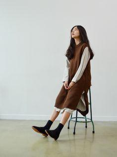 long knit vest (2colors)