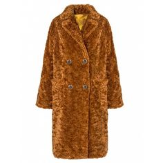 Teddy Button Faux Fur Coat ($249) ❤ liked on Polyvore featuring outerwear, coats, brown coat, faux fur coat, button coat, fake fur coats and oversized coat