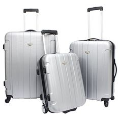 Travelers Choice Rome 3 Piece Hardsided Set Silver >>> Read more reviews of the product by visiting the link on the image.