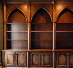 Gothic Style Bookcases with Distressed Finish by Artisan Custom Bookcases at CustomMade.com
