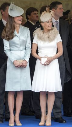 Kate Middleton, in Christopher Kane and a Lock & Co hat, at the Garter Day ceremonies with Sophie, Countess of Wessex. June, 2014.