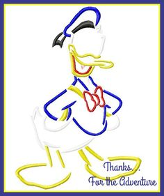 Donald Duck Sketch Digital Embroidery Machine Design File 4x4 5x7 6x10 by Thanks4TheAdventure on Etsy