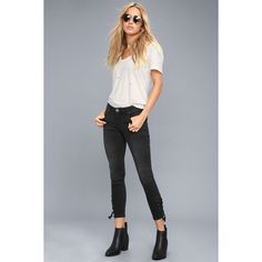 One X One Teaspoon Freebirds II Washed Black Skinny Jeans ($149) ❤ liked on Polyvore featuring jeans, black, low rise jeans, destructed jeans, cropped skinny jeans, patch jeans and distressed jeans