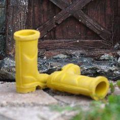 Miniature Fairy Garden Yellow Rubber Rain Boots Fairies need these for those rainy days.