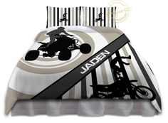 Motocross Bedding Set - Comforter Tan & White - Motocross Bedding - ATV Kids/Boys Dirt Bike Personalized, King, Queen/Full, Twin #273 by EloquentInnovations on Etsy