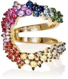 Colorful cuff ring with multicolored sapphires and tourmalines