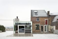 House H by Architecten de Vylder Vinck Taillieu - Building Featured Near Chimney Near Glass Wall To Enhance Minimalist House Design, Minimalist Home, Architecture Old, Contemporary Architecture, Modern Contemporary, Modern Design, Container Buildings, Architectural Features, House Extensions