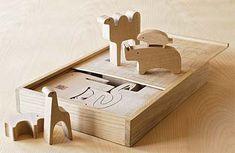 enzo mari wooden animal puzzle.