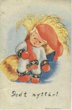 Julekort Coucheron. Nissegutt med nek. Utg J.H.Küenholdt Stemplet 1944 Winnie The Pooh, Norway, Disney Characters, Fictional Characters, Anna, Disney Princess, Christmas Postcards, Painting, Vintage