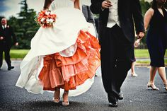 clever lil way to incorporate your wedding color - colored slip under wedding dress.