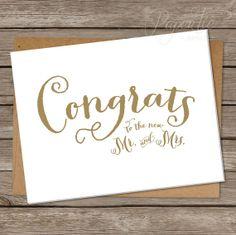 "Wedding Congratulations Card. Wedding Congrats. Greeting Card. Calligraphy, Script, Gold, Simple. ""Golden Congrats"" @Paper Tie Affair"