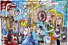 He loves She loves_100x150 DONNE VANITOSE . painting quadri moderni alessandro siviglia artist made in italy rome art pop art di paintingsiviglia su Etsy
