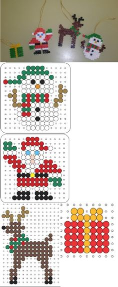 Christmas ornaments hama beads (with pattern)