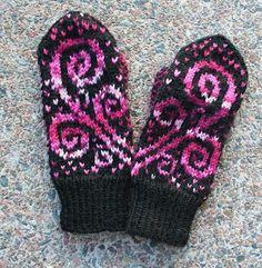 Ravelry: Kiemurakukkaset pattern by Pia Tuononen Mittens Pattern, Knit Mittens, Knitting Socks, Knitting Stitches, Mitten Gloves, Crochet Pattern, Knitting Patterns, Knit Crochet, Knit Socks