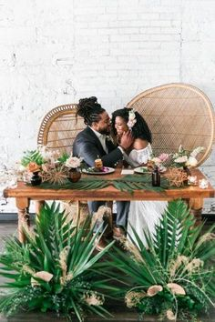 Bride and groom at the sweetheart table at their wedding reception sitting in Midcentury Woven Wicker Peacock Chairs - Black Love - Tropical Destination Wedding Inspiration - Oahu Hawaii Wedding Photography weddingreceptionchairs Tropical Wedding Reception, Kauai Wedding, Tropical Weddings, Oahu Hawaii, Honolulu Oahu, Head Table Wedding Decorations, Wedding Chairs, Black Love, Destination Wedding Inspiration