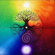 Devoured by the Comfort Zone album art by sarah benthall Arte Chakra, Chakra Art, Chakra Painting, Tree Of Life Artwork, Tree Art, Tree Of Life Painting, Image Zen, Arte Yin Yang, Arte Linear